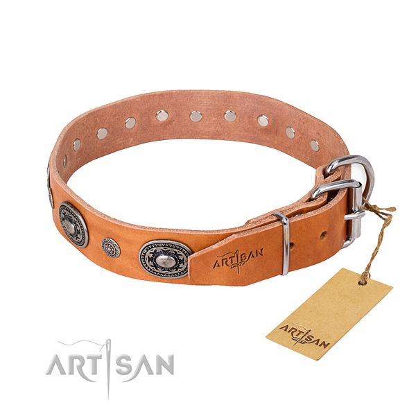 Flexible full grain natural leather dog collar handcrafted for comfy wearing