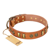 """Natural Beauty"" FDT Artisan Tan Leather Black Russian Terrier Collar with Old Bronze-like Circles and Plates"