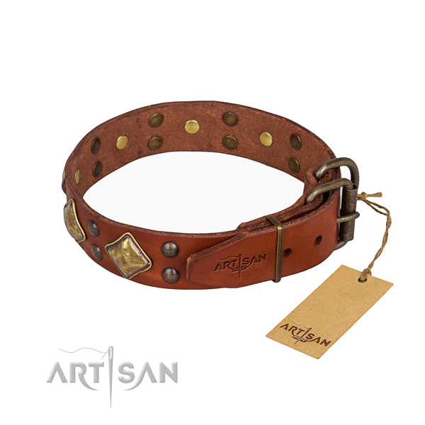 Full grain leather dog collar with awesome corrosion resistant studs