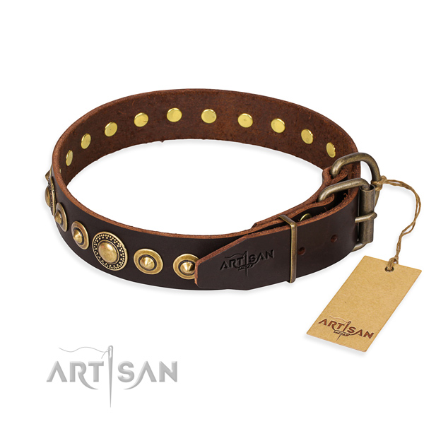 Best quality genuine leather dog collar handcrafted for daily walking