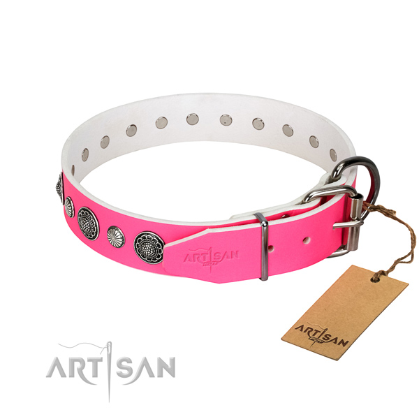 Reliable full grain genuine leather dog collar with corrosion resistant fittings