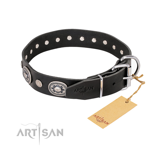 Durable leather dog collar crafted for comfy wearing
