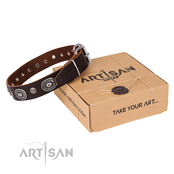 High quality leather dog collar handmade for everyday use