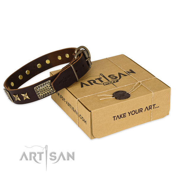 Rust resistant hardware on genuine leather collar for your handsome four-legged friend