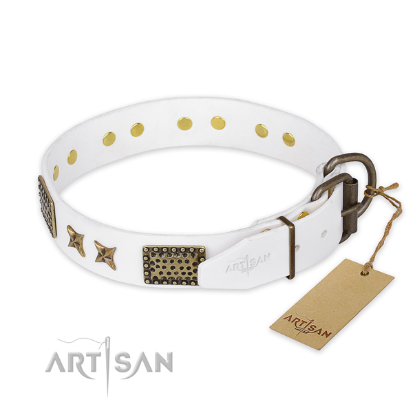 Durable hardware on natural genuine leather collar for your beautiful doggie