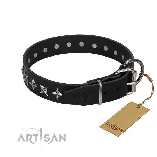 Comfy wearing decorated dog collar of best quality genuine leather