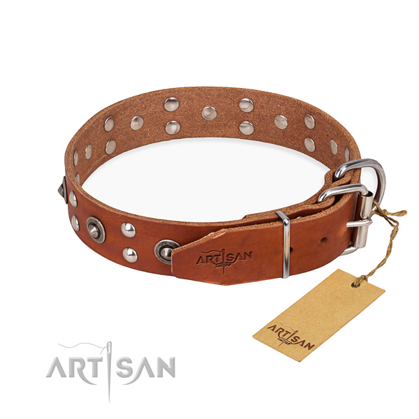 Rust resistant hardware on full grain natural leather collar for your lovely four-legged friend