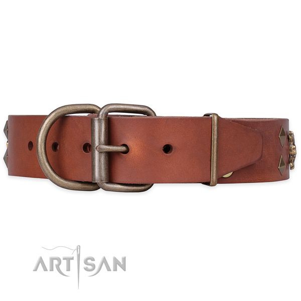 Everyday use decorated dog collar of durable full grain leather