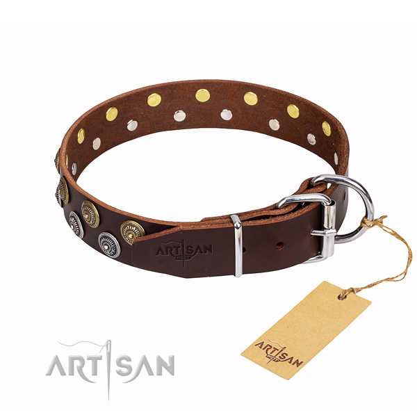 Easy wearing decorated dog collar of top quality genuine leather
