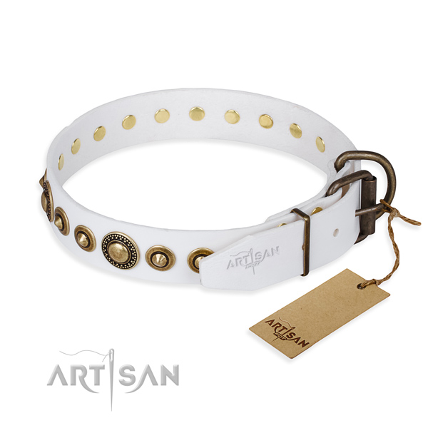 Flexible full grain genuine leather dog collar handcrafted for comfy wearing