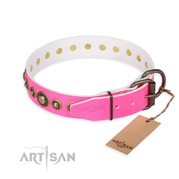 Gentle to touch natural genuine leather dog collar made for fancy walking