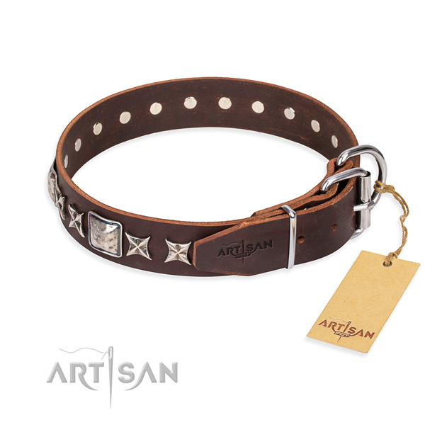 Finest quality decorated dog collar of leather