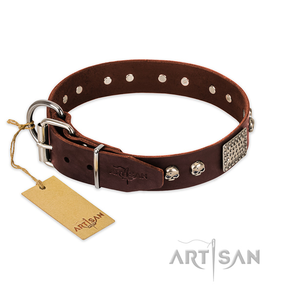 Rust-proof buckle on handy use dog collar