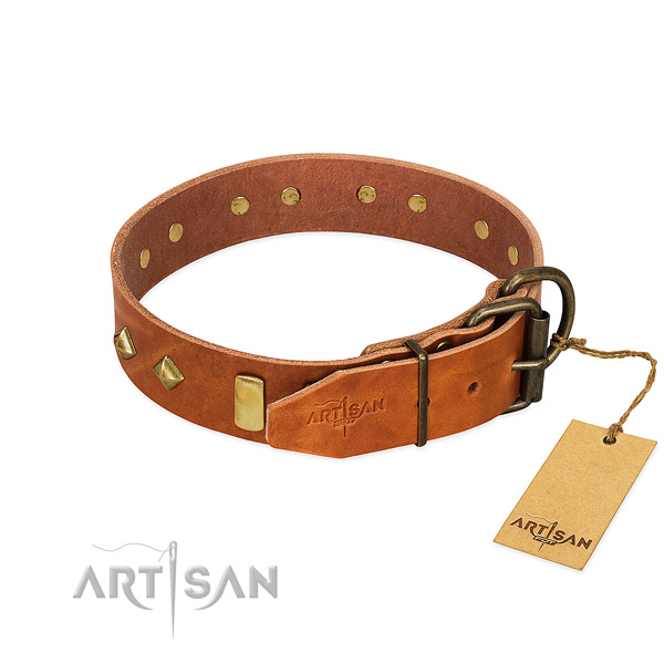Everyday walking natural leather dog collar with stylish decorations