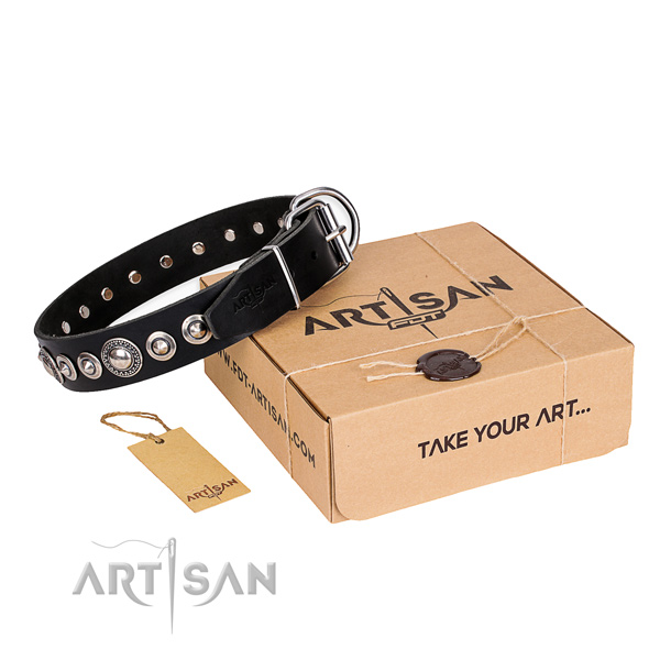 Top notch leather dog collar