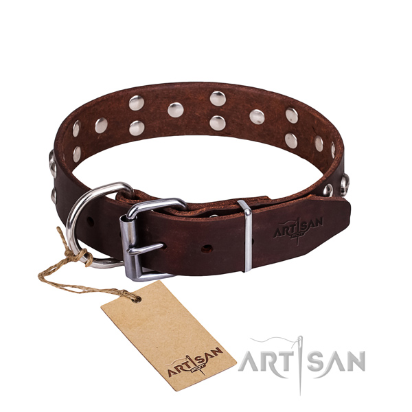 Easy wearing dog collar of reliable full grain natural leather with studs