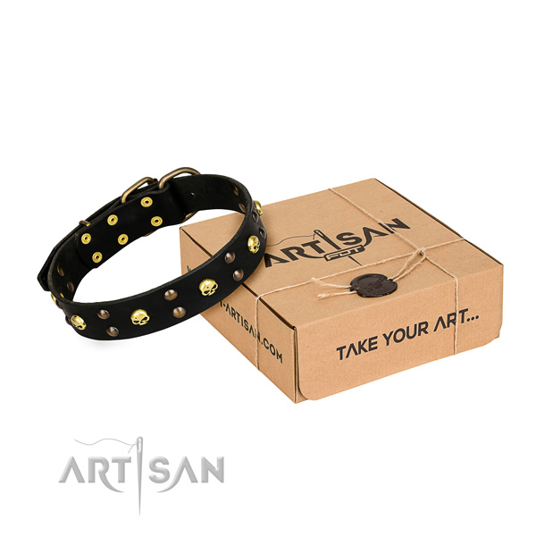 Handy use dog collar of best quality full grain natural leather with studs
