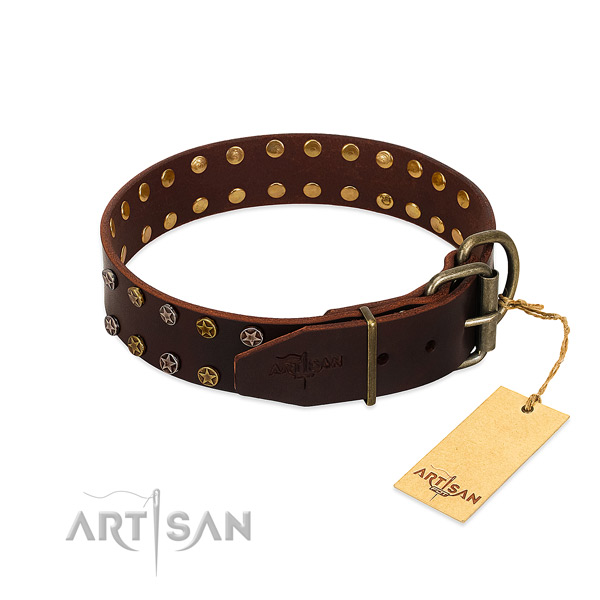 Comfy wearing full grain leather dog collar with top notch embellishments