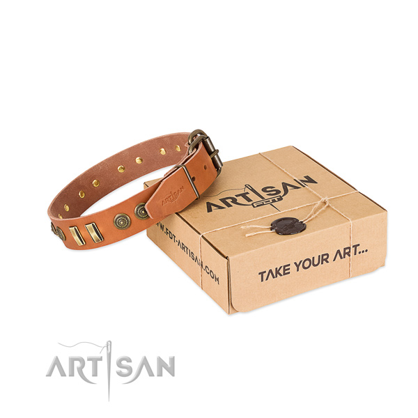 Reliable decorations on full grain natural leather dog collar for your doggie