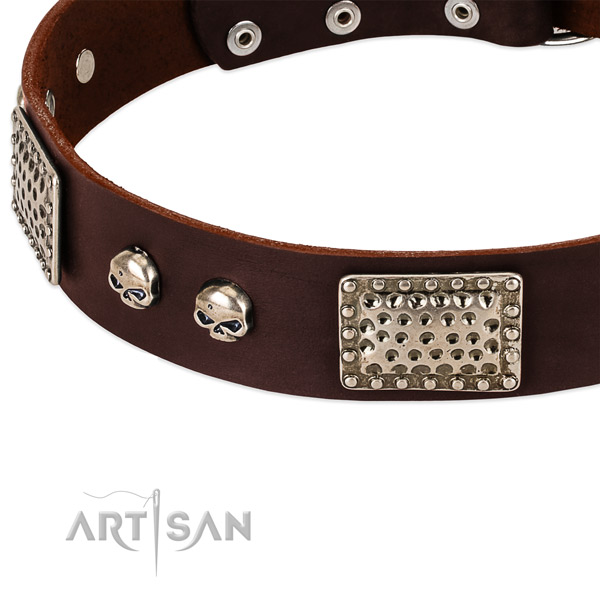 Corrosion resistant hardware on natural genuine leather dog collar for your pet