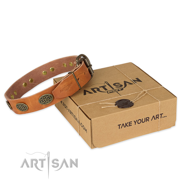 Strong fittings on natural genuine leather collar for your stylish doggie