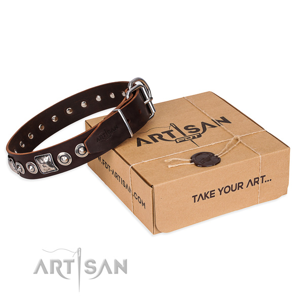Genuine leather dog collar made of top rate material with reliable hardware