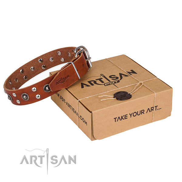 Durable fittings on genuine leather collar for your stylish canine