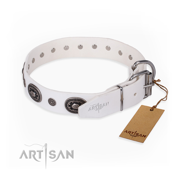 Soft full grain genuine leather dog collar created for stylish walking