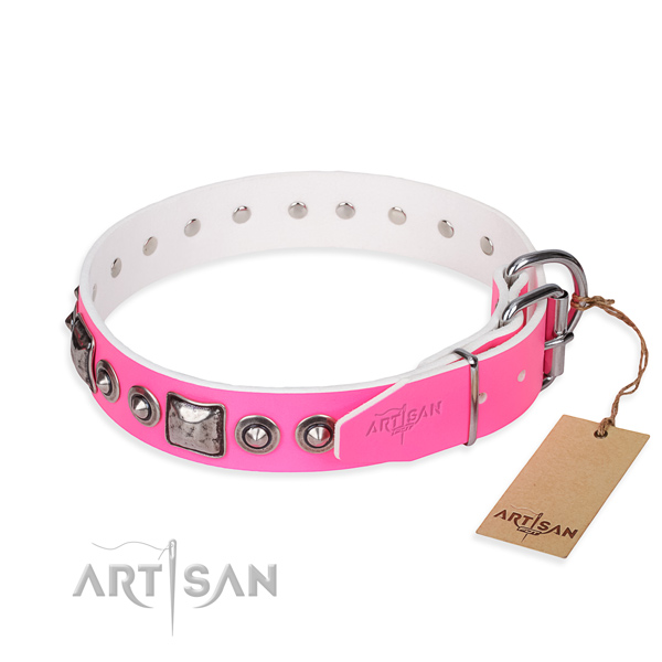Gentle to touch full grain leather dog collar created for daily use