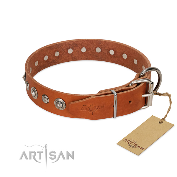 Reliable genuine leather dog collar with top notch decorations