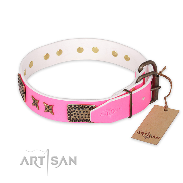 Reliable fittings on full grain genuine leather collar for your lovely doggie