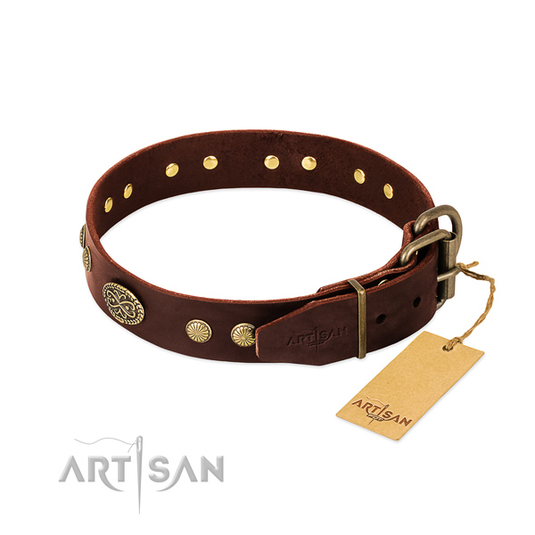 Corrosion resistant embellishments on full grain leather dog collar for your doggie