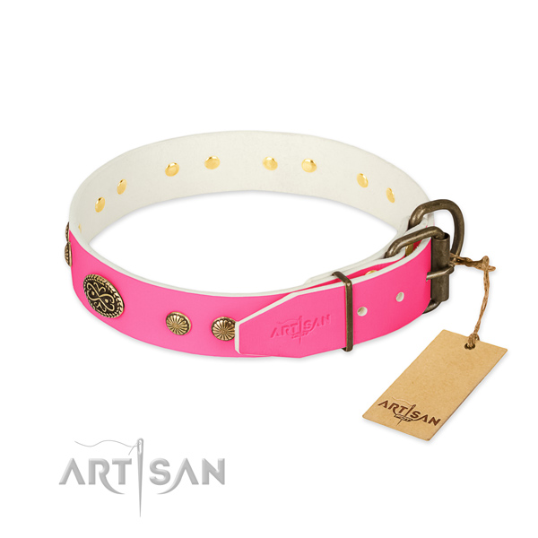 Strong buckle on full grain leather dog collar for your four-legged friend