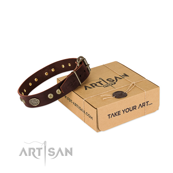 Reliable decorations on genuine leather dog collar for your doggie