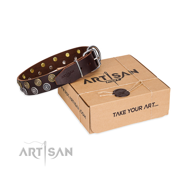 Daily use dog collar of high quality full grain natural leather with decorations