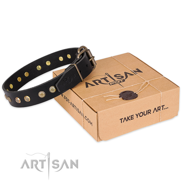 Rust-proof buckle on full grain natural leather collar for your lovely doggie