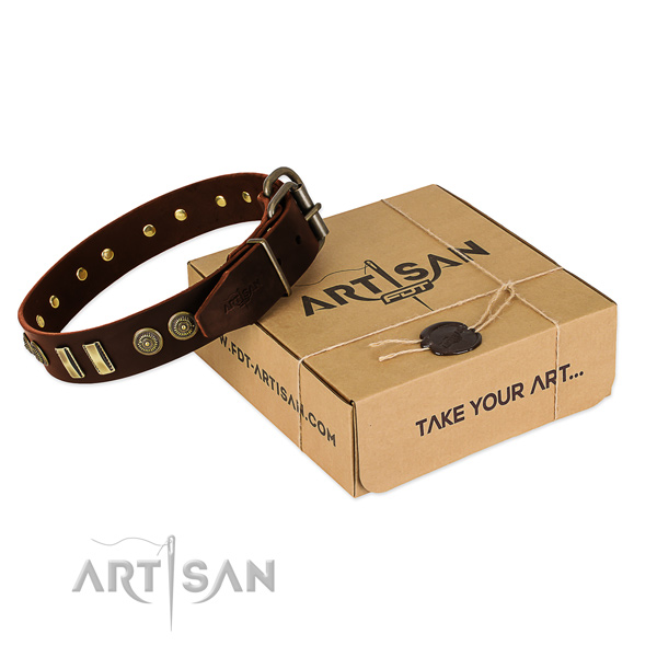Reliable studs on full grain genuine leather dog collar for your four-legged friend