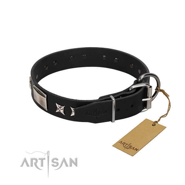 Flexible genuine leather dog collar with reliable traditional buckle