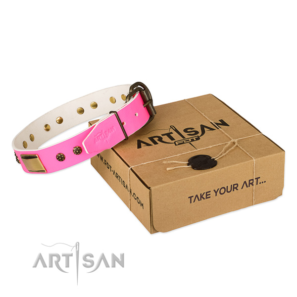 Adjustable full grain genuine leather collar for your handsome pet
