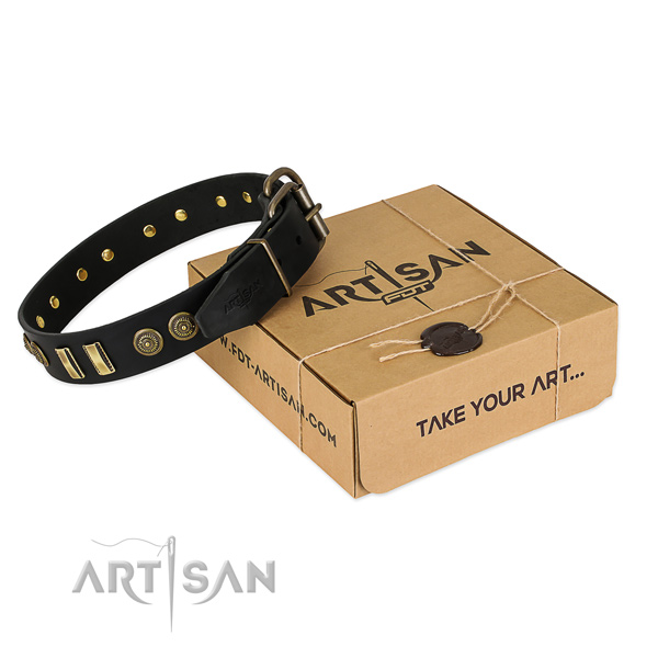 Reliable buckle on natural leather dog collar for your doggie