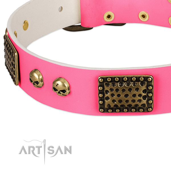 Corrosion resistant decorations on full grain natural leather dog collar for your four-legged friend