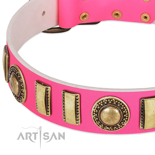 Gentle to touch full grain leather dog collar for your attractive four-legged friend