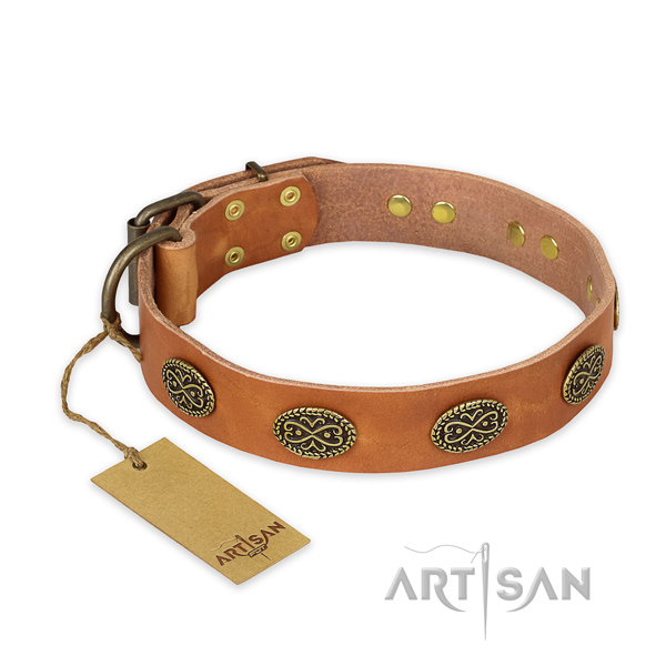 Adjustable genuine leather dog collar with corrosion resistant buckle