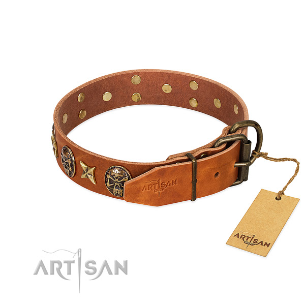 Leather dog collar with corrosion proof traditional buckle and embellishments
