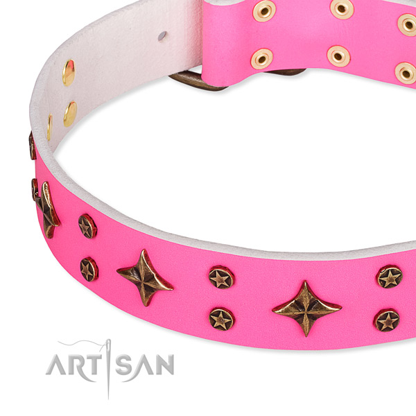 Easy wearing embellished dog collar of top notch full grain natural leather