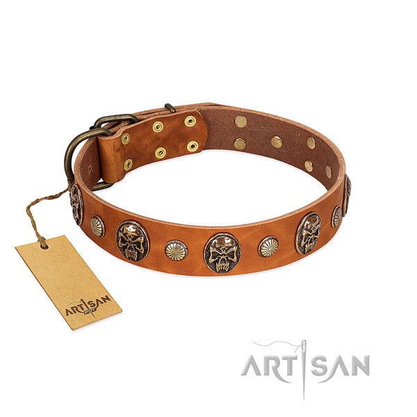 Significant natural genuine leather dog collar for comfortable wearing