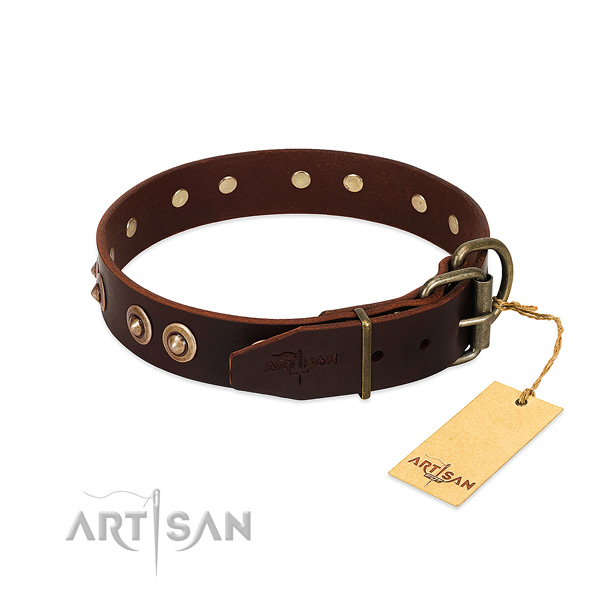 Corrosion resistant D-ring on full grain natural leather dog collar for your canine