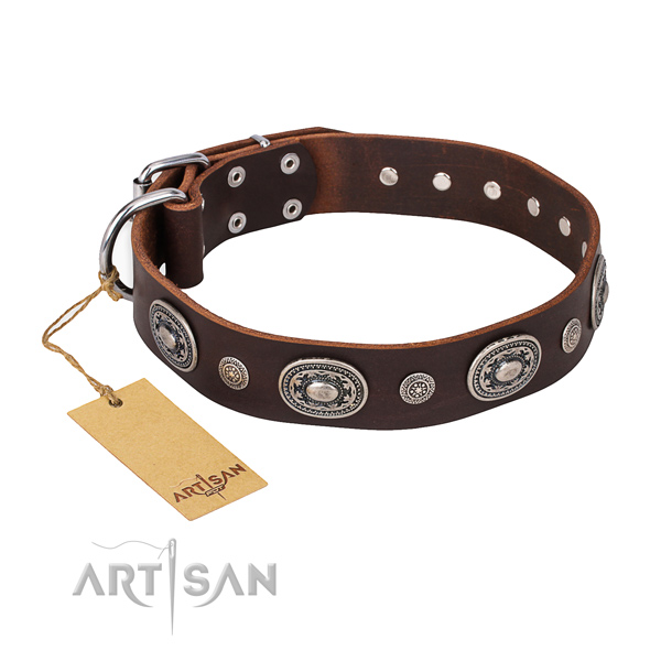 Durable leather collar handcrafted for your four-legged friend