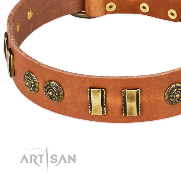 Corrosion proof D-ring on full grain natural leather dog collar for your pet