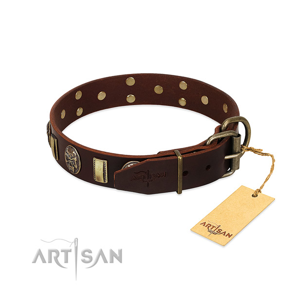 Full grain leather dog collar with durable buckle and embellishments